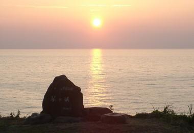 琴が浜の夕日
