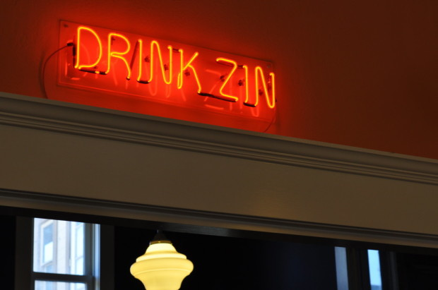 Drink Zin, sign at Preston Vineyards tasting room