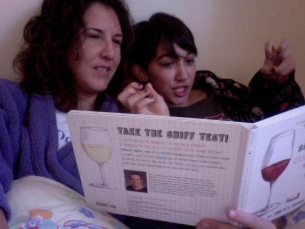 Reading wine books in PJs