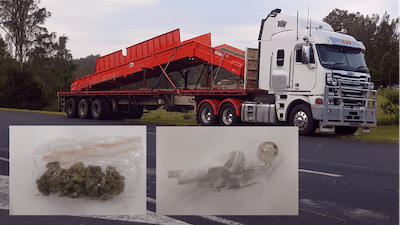 Australian Truckie Had Weed & A Bong In His Cab
