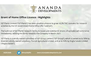 UK: Ananda Developments granted Home Office licence to grow cannabis