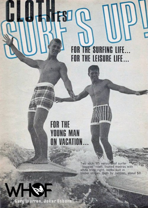 Gary Warren and Joker Osborn wakesurfing at Cypress Gardens. Jantzen Ad 1965