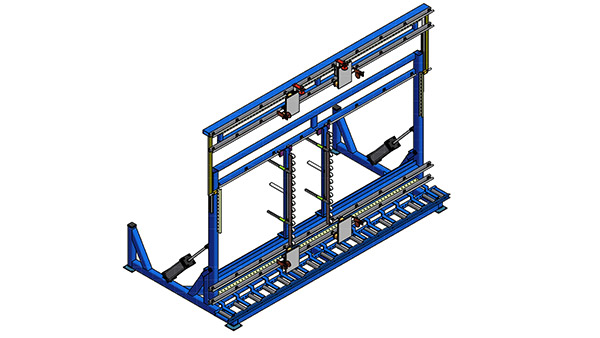 Oversized Door Assembly Rack with Pneumatic Tilt