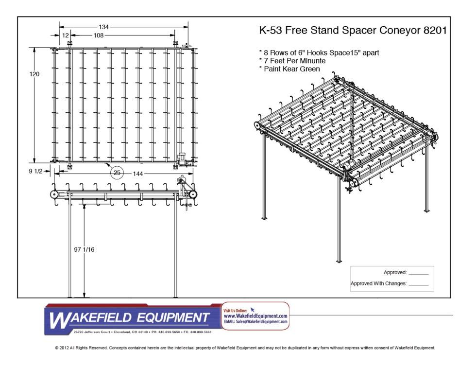 Free Standing Spacer Conveyor 8 Rows Of Hooks