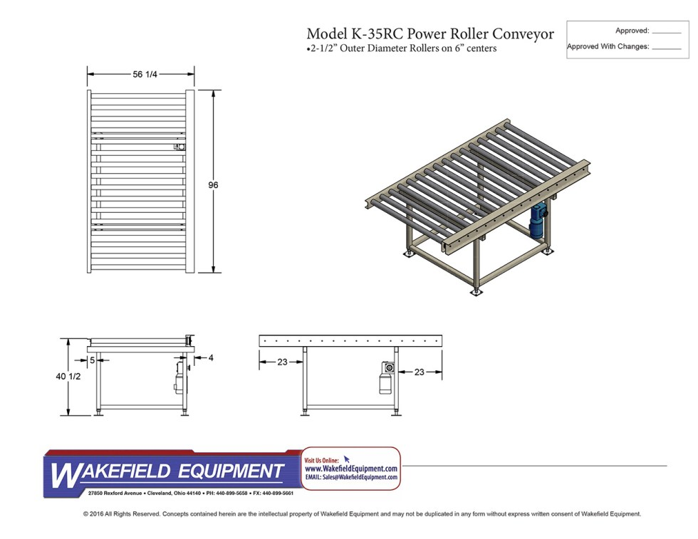 K 35RC 8′ Power Roller Conveyor