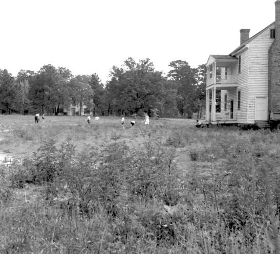 Calvin Jones House in a field. People picking up rocks in field.