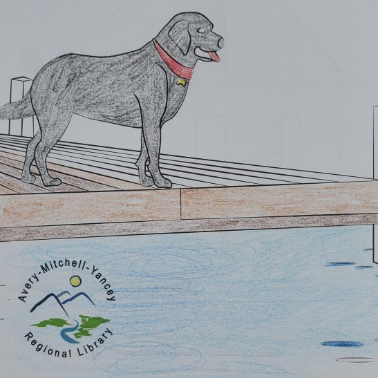 colored picture of dog on dock.