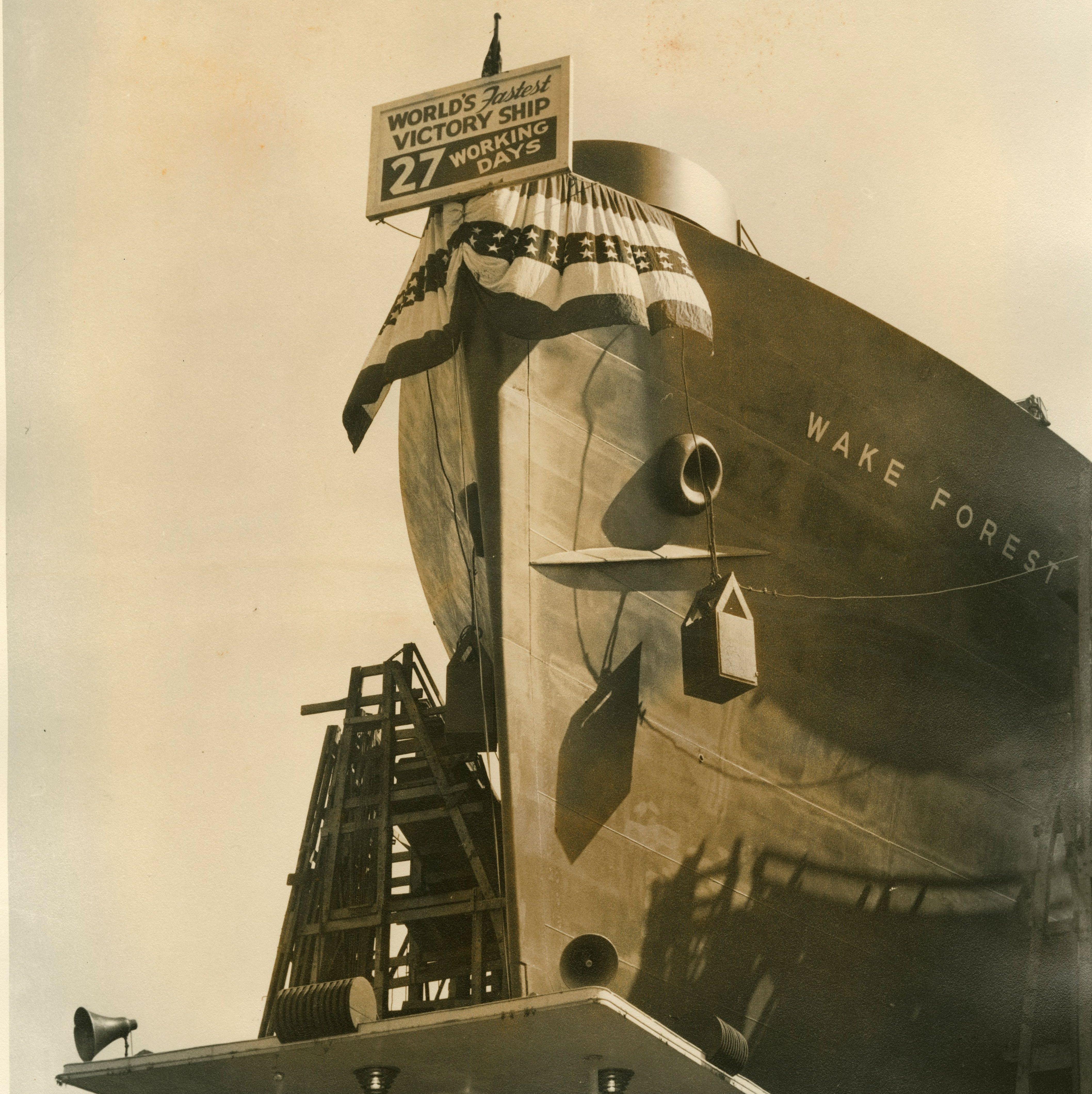 Looking up at ship.