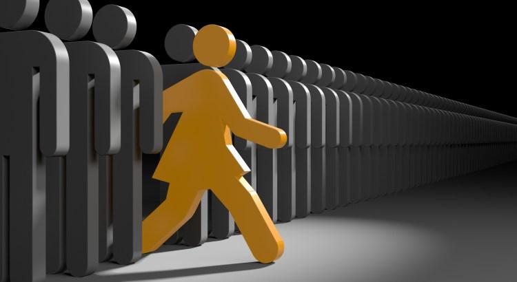 Woman run to new opportunities. Leadership metaphor