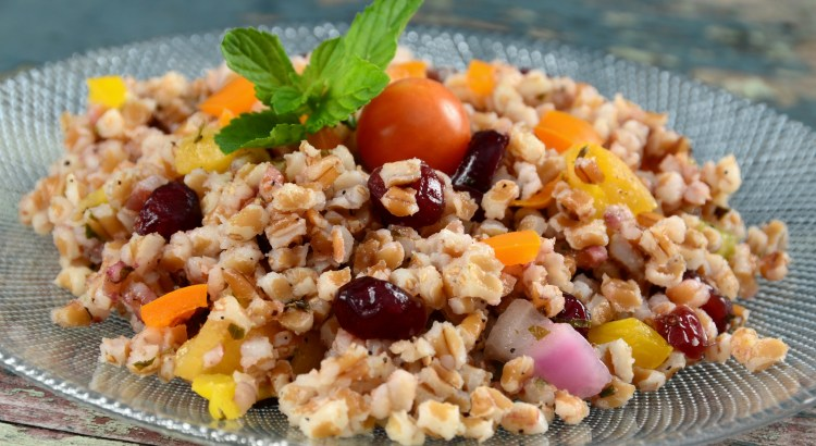 A delicious and nutritious salad of wheatberries with vegetables and dried fruit.Another image from this series: