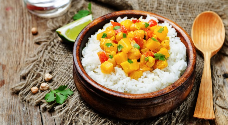 pumpkin chickpea curry with rice. toning. selective focus