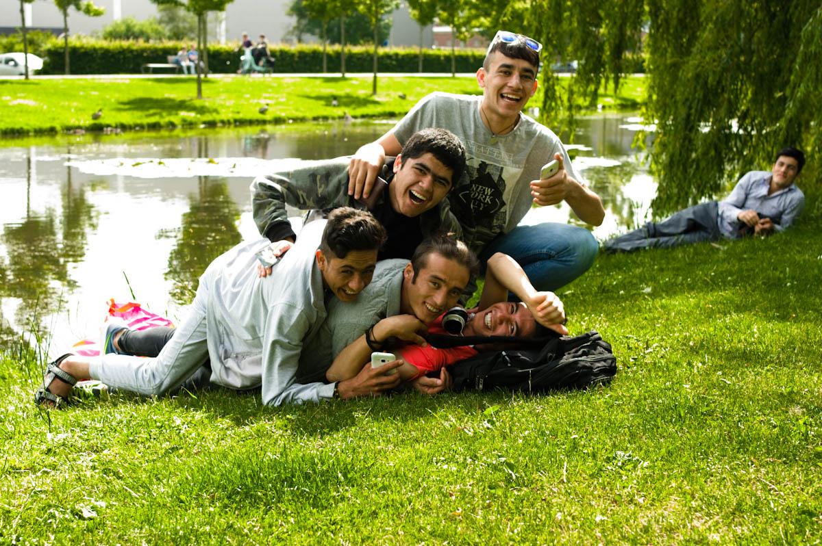 Group of boys having fun in thalenparkje drachten by Jeffrey Wakanno