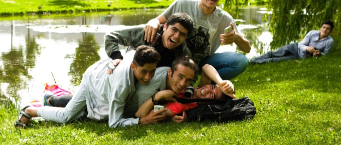 Group of boys having fun in thalenparkje drachten by Jeffrey Wakanno
