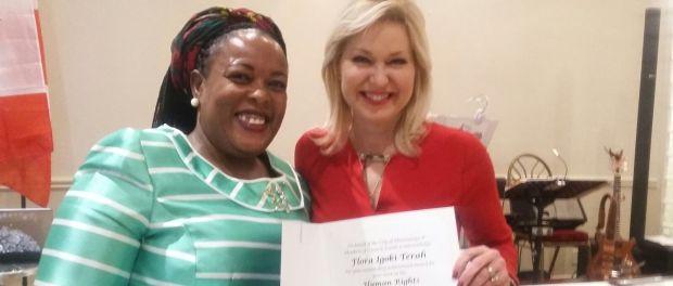 Flora Terah with Mississauga mayor Bobbie Crombie.