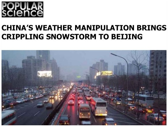 "Climate Engineering, El Niño and the Bizarre ""Scheduled Weather"" for the Coming Winter in The US - China's Weather Manipulation"
