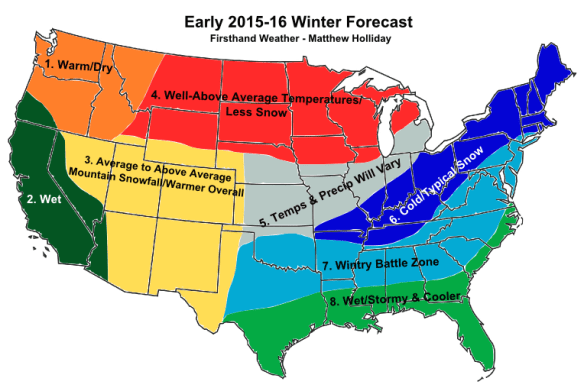 "Climate Engineering, El Niño and the Bizarre ""Scheduled Weather"" for the Coming Winter in The US - Early 2015-2016 Winter Forecast Map"