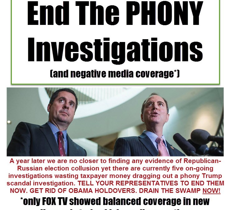 End PHONY Investigations Now – One Year Later Still No Evidence