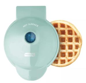 dash mini waffle maker in aqua