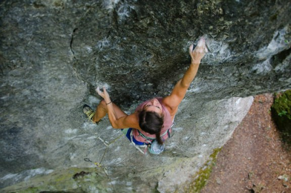 female rock climber