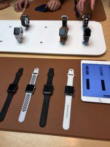 アップルストア渋谷店のApple Watchコーナーです。