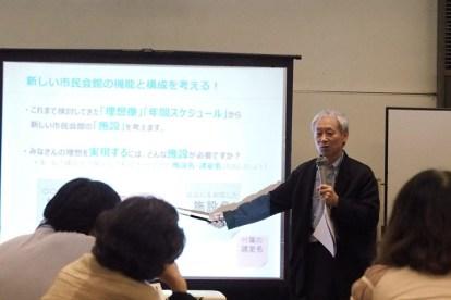 新しい市民会館の機能と構成を考える!ワークショップの進め方を説明する伊東さん