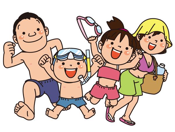家族で海水浴のイラスト