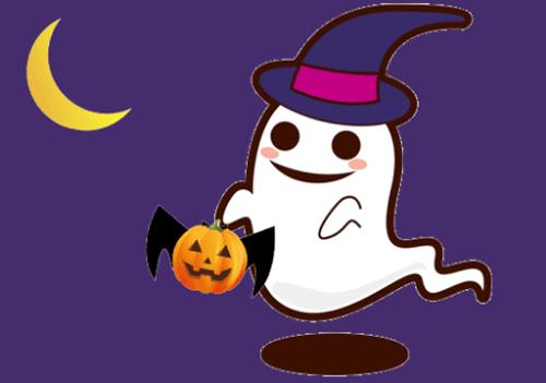 ハロウィンのお化けとかぼちゃと月のイラスト