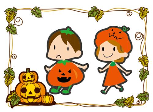 ハロウィンをかぼちゃの仮装で楽しむ男の子と女の子のイラスト