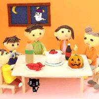 家族でハロウィンを楽しむイラスト