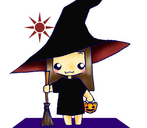 ハロウィンで魔女の格好をした女の子のイラスト