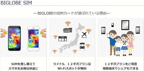 格安SIM業界シェア4位BIGLOBE