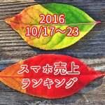 2016/10/17~10/23 スマホ売上ランキング iPhone勢の勢い止まらず
