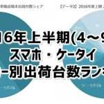 メーカー別スマホ・ケータイ出荷台数ランキング2016年上半期(4~9月)