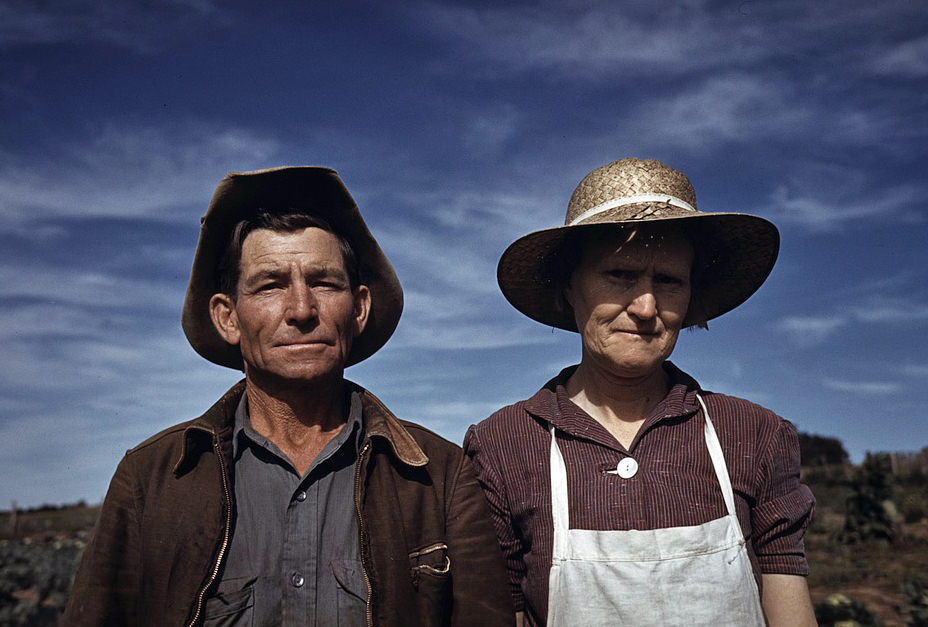 Jim Norris and wife, homesteaders, Pie Town, New Mexico, 1940. I wonder how many self-reliance skills they knew?