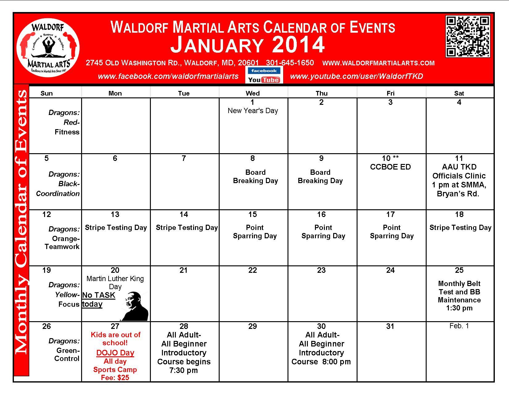 Waldorf Martial Arts January Calendar Of Events
