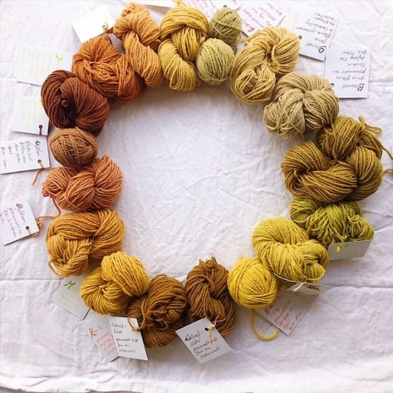 mit Pflanzen gefärbte Wolle