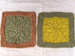 Mit Birkenblättern (gelb), Weißdornblättern (rosa) und Brennnesseln (grau) gefärbte Wolle.