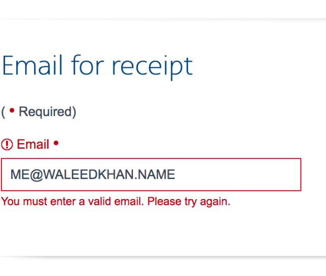 American Airlines Refusing My Perfectly Good Name Email Address When Trying To Check Out