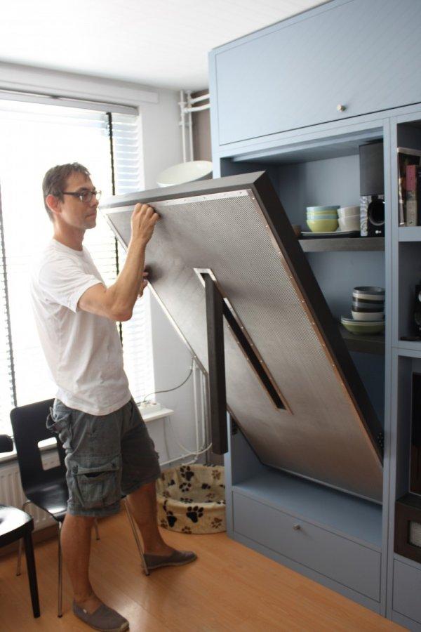 Wandkast met opklapbare tafel opbergvak televisie en