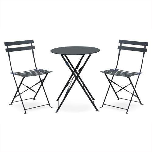 table de jardin bistrot metal 2 chaises emilia 60