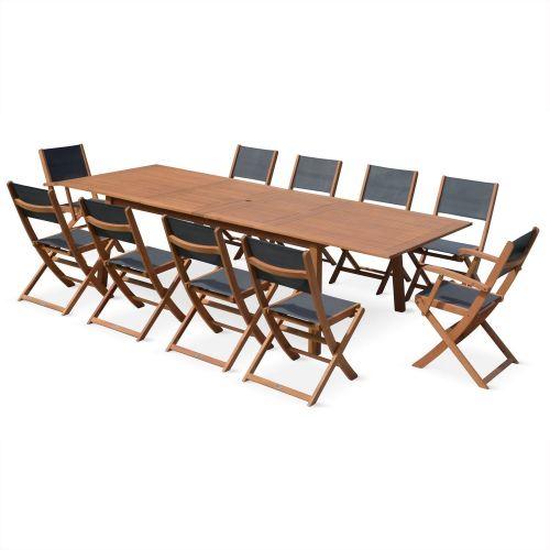 table de jardin 10 chaises en bois almeria 300
