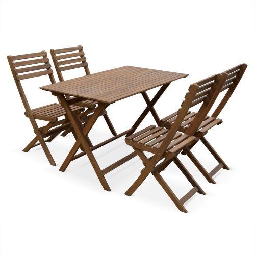 table de jardin et chaises en bois 120x70cm madrid