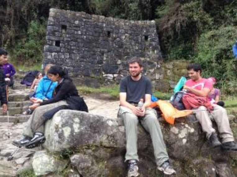 having a snack on the inca trail