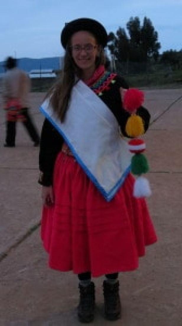 dressed in cholita clothes in puno