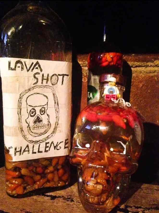 lava shot challenge at big foot hostel leon