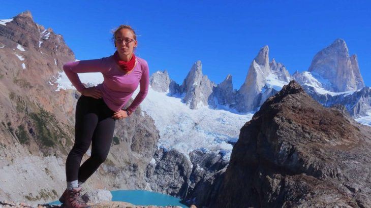 posing in front of mount fitz roy argentina