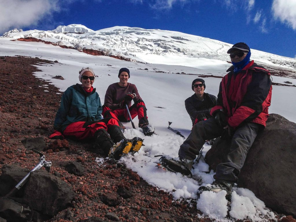 Sitting on the glacier at Cotopaxi Volcano