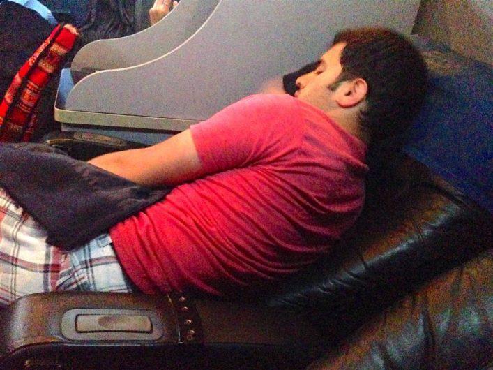 Sleeping on a bus