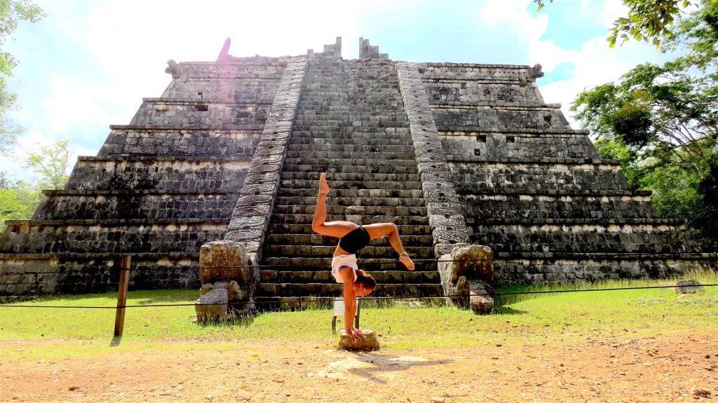 Handstand in front of Chichen Itza