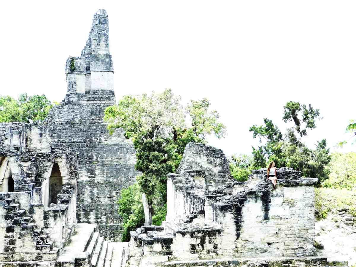 Climbing around the ruins of Tikal